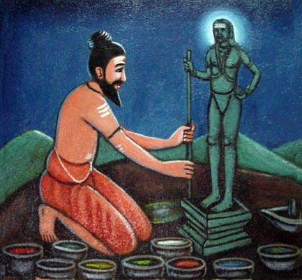 Bhogar, using nine different minerals, creates the Dandapani vigraha and sanctifies it.