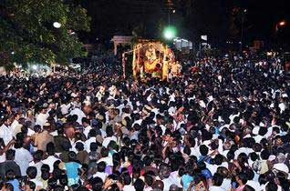 Thousands of devotees witnessing the Soorasamharam festival in Palani