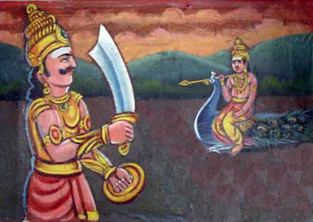 The duel between Lord Murugan and Curapatuman.